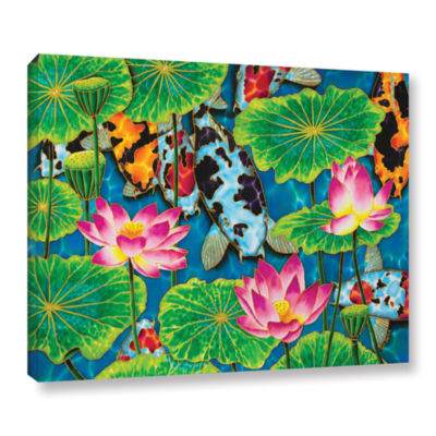 Brushstone Koi & Lotus Gallery Wrapped Canvas WallArt