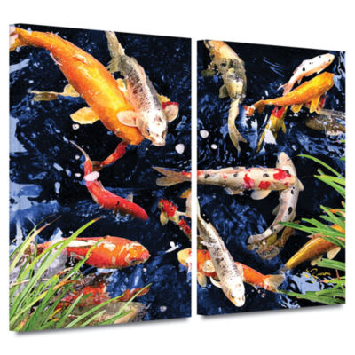 Brushstone Koi 2-pc. Gallery Wrapped Canvas Wall Art