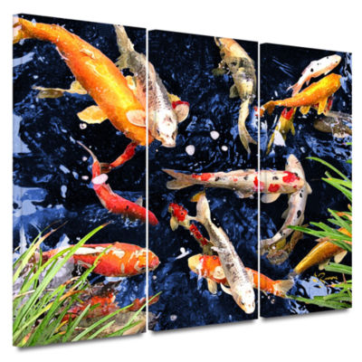 Brushstone Koi 3-pc. Gallery Wrapped Canvas Wall Art