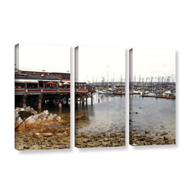 Brushstone Old Fisherman's Wharf - California 3-pc. Gallery Wrapped Canvas Wall Art