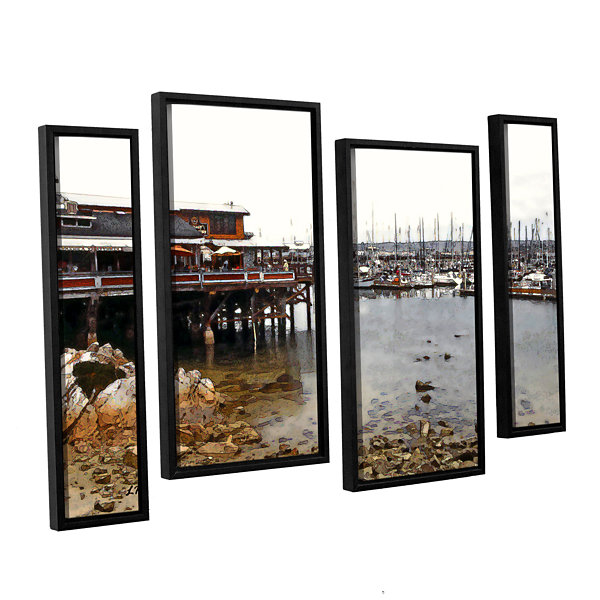 Brushstone Old Fisherman's Wharf - California 4-pc. Floater Framed Staggered Canvas Wall Art