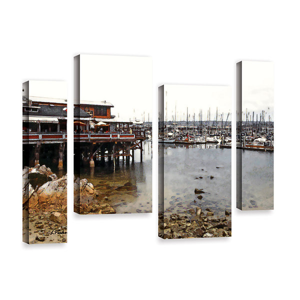 Brushstone Old Fisherman's Wharf - California 4-pc. Gallery Wrapped Staggered Canvas Wall Art