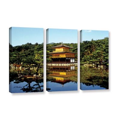 Brushstone Kyoto's Golden Pavilion 3-pc. Gallery Wrapped Canvas Wall Art