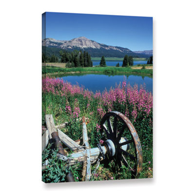 Brushstone Old Wheel And Brooks Lake Gallery Wrapped Canvas Wall Art