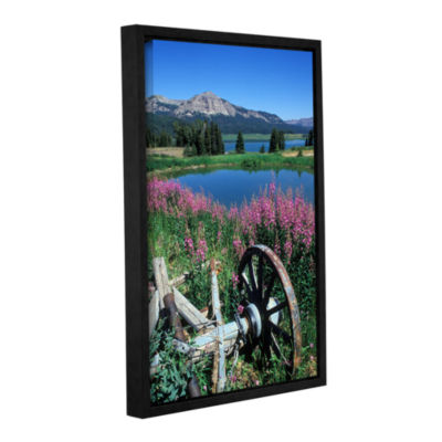 Brushstone Old Wheel And Brooks Lake Gallery Wrapped Floater-Framed Canvas Wall Art