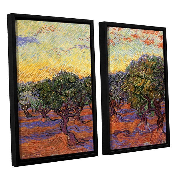 Brushstone Olive Grove With Orange Sky 2-pc. Floater Framed Canvas Wall Art