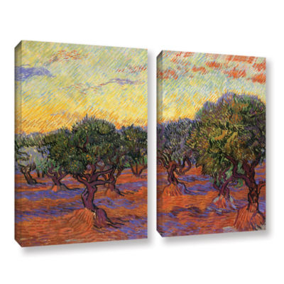 Brushstone Olive Grove With Orange Sky 2-pc. Gallery Wrapped Canvas Wall Art