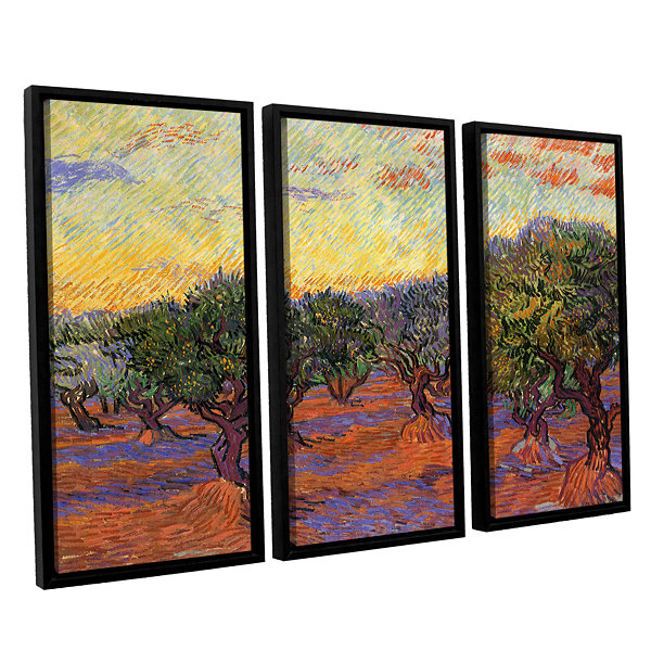 Brushstone Olive Grove With Orange Sky 3-pc. Floater Framed Canvas Wall Art