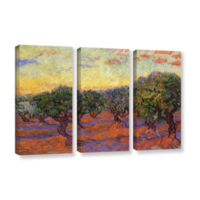 Brushstone Olive Grove With Orange Sky 3-pc. Gallery Wrapped Canvas Wall Art