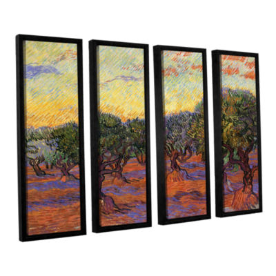 Brushstone Olive Grove With Orange Sky 4-pc. Floater Framed Canvas Wall Art