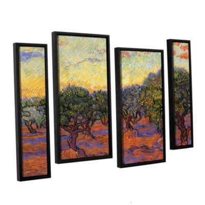 Brushstone Olive Grove With Orange Sky 4-pc. Floater Framed Staggered Canvas Wall Art