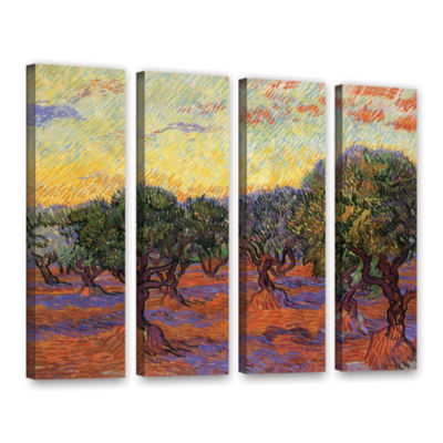 Brushstone Olive Grove With Orange Sky 4-pc. Gallery Wrapped Canvas Wall Art