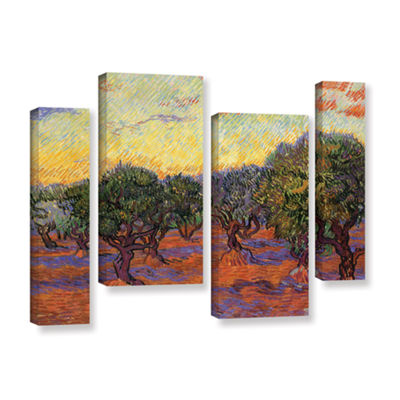 Brushstone Olive Grove With Orange Sky 4-pc. Gallery Wrapped Staggered Canvas Wall Art