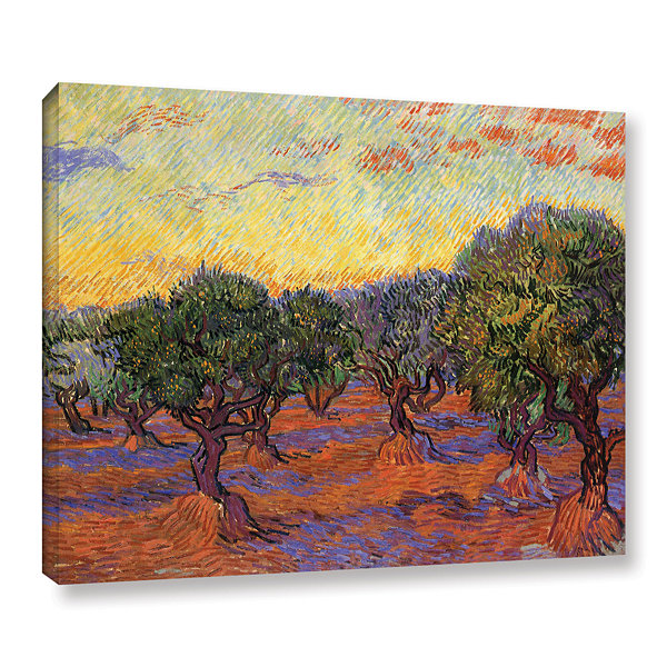 Brushstone Olive Grove With Orange Sky Gallery Wrapped Canvas Wall Art