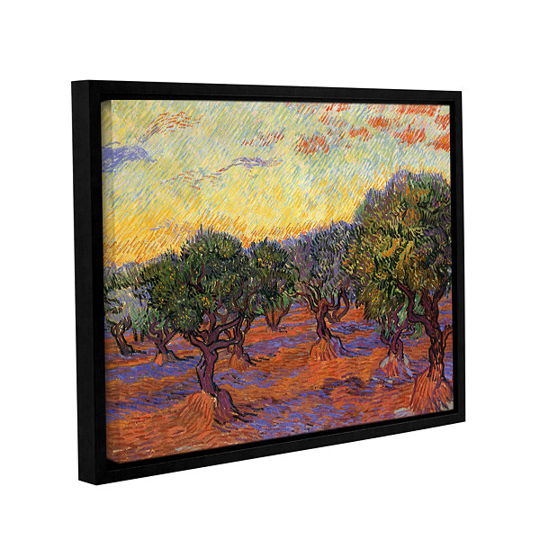 Brushstone Olive Grove With Orange Sky Gallery Wrapped Floater-Framed Canvas Wall Art