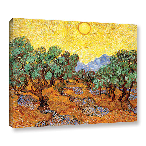 Brushstone Olive Trees With Yellow Skies And Sun Gallery Wrapped Canvas Wall Art