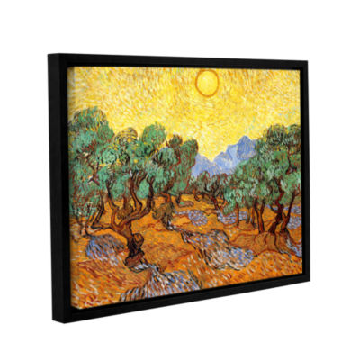 Brushstone Olive Trees With Yellow Skies And Sun Gallery Wrapped Floater-Framed Canvas Wall Art