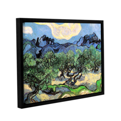 Brushstone Olive Trees In A Mountanious Landscape Gallery Wrapped Floater-Framed Canvas Wall Art