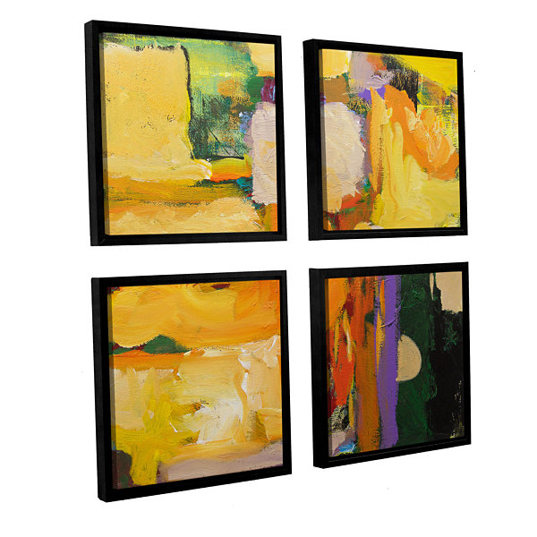 Brushstone Omar 4-pc. Square Floater Framed CanvasWall Art