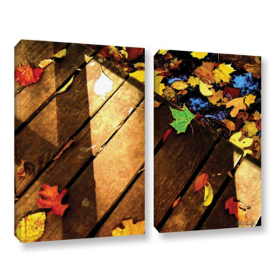 Brushstone Leaf_Study2 2-pc. Gallery Wrapped Canvas Wall Art