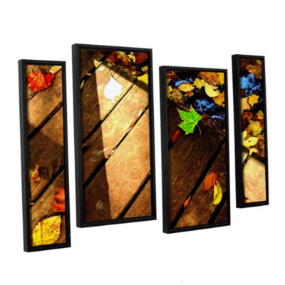 Brushstone Leaf_Study2 4-pc. Floater Framed Staggered Canvas Wall Art