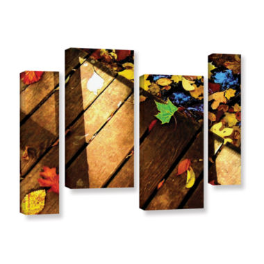 Brushstone Leaf_Study2 4-pc. Gallery Wrapped Staggered Canvas Wall Art