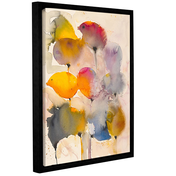 Brushstone Leaves Gallery Wrapped Floater-Framed Canvas Wall Art