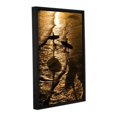 Brushstone Opposite Surfers Gallery Wrapped Floater-Framed Canvas Wall Art