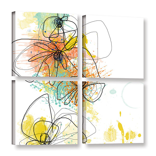 Brushstone Orange Botanica 4-pc. Square Gallery Wrapped Canvas Wall Art