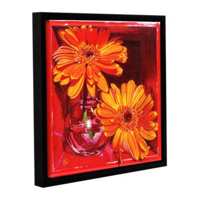 Brushstone Orange Crush Gallery Wrapped Floater-Framed Canvas Wall Art