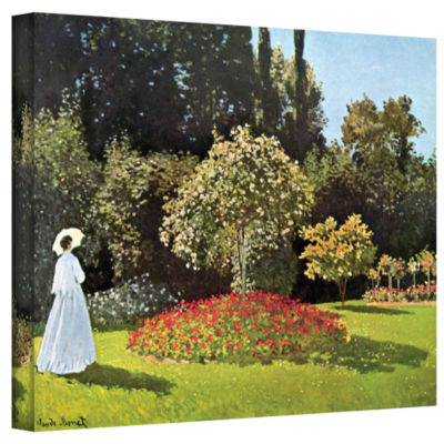 Brushstone Lady With Umbrella In Field Gallery Wrapped Canvas Wall Art