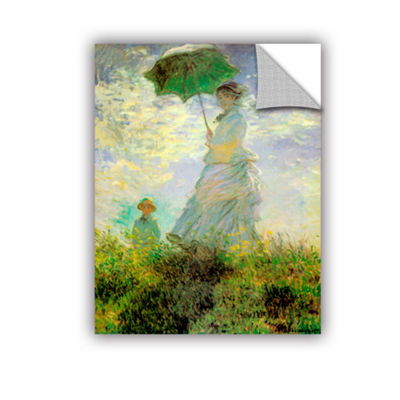 Brushstone Lady With Umbrella In Field Removable Wall Decal