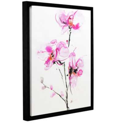 Brushstone Orchid 1 Gallery Wrapped Floater-FramedCanvas Wall Art