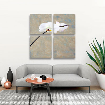 Brushstone Orchid Blossoms 4-pc. Square Gallery Wrapped Canvas Wall Art