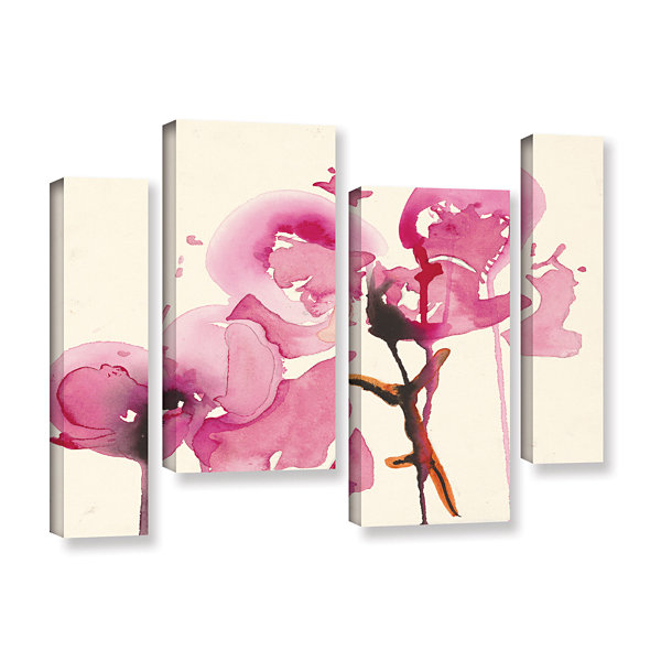 Brushstone Orchids I 4-pc. Gallery Wrapped Staggered Canvas Wall Art