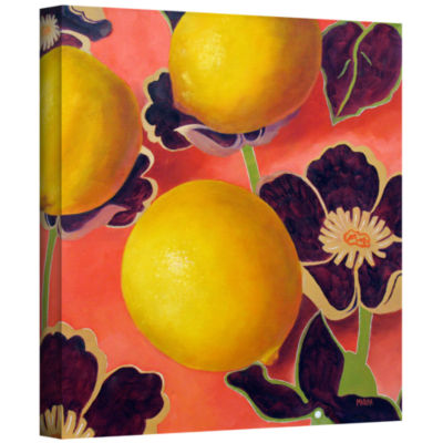 Brushstone Lemons On Persimmon Gallery Wrapped Canvas Wall Art