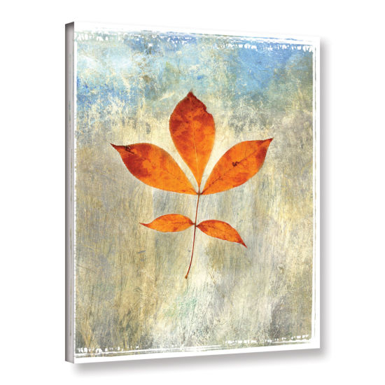 Brushstone Leaf I Gallery Wrapped Canvas Wall Art