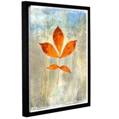 Brushstone Leaf I Gallery Wrapped Floater-Framed Canvas Wall Art