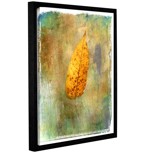 Brushstone Leaf II Gallery Wrapped Floater-FramedCanvas Wall Art