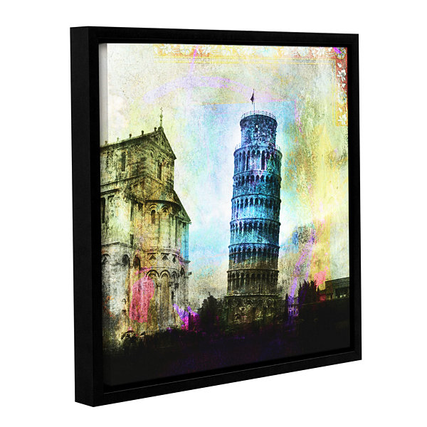 Brushstone Leaning Tower Of Pisa Gallery Wrapped Floater-Framed Canvas Wall Art