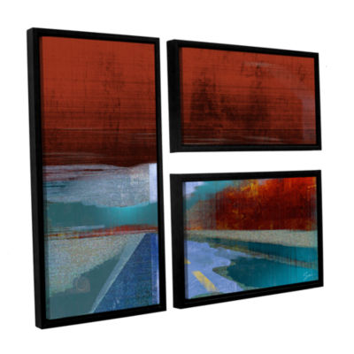 Brushstone Landscape I 3-pc. Flag Floater Framed Canvas Wall Art