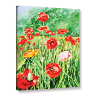 Brushstone Landscape With Poppy Field 1 Gallery Wrapped Canvas Wall Art
