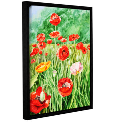 Brushstone Landscape With Poppy Field 1 Gallery Wrapped Floater-Framed Canvas Wall Art