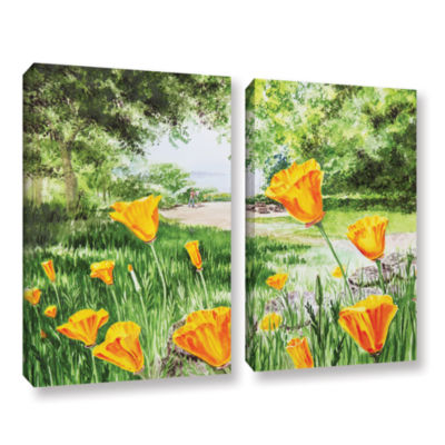 Brushstone Landscape With California Poppies 2-pc.Gallery Wrapped Canvas Wall Art