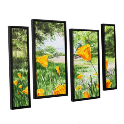 Brushstone Landscape With California Poppies 4-pc.Floater Framed Staggered Canvas Wall Art