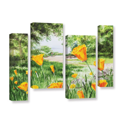 Brushstone Landscape With California Poppies 4-pc.Gallery Wrapped Staggered Canvas Wall Art