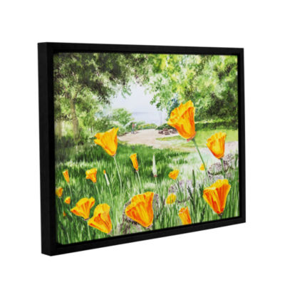 Brushstone Landscape With California Poppies Gallery Wrapped Floater-Framed Canvas Wall Art