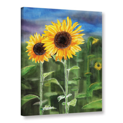 Brushstone Landscape With Sunflowers Gallery Wrapped Canvas Wall Art