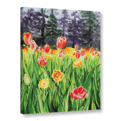 Brushstone Landscape With Tulip Garden Gallery Wrapped Canvas Wall Art
