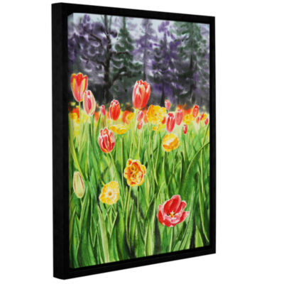 Brushstone Landscape With Tulip Garden Gallery Wrapped Floater-Framed Canvas Wall Art